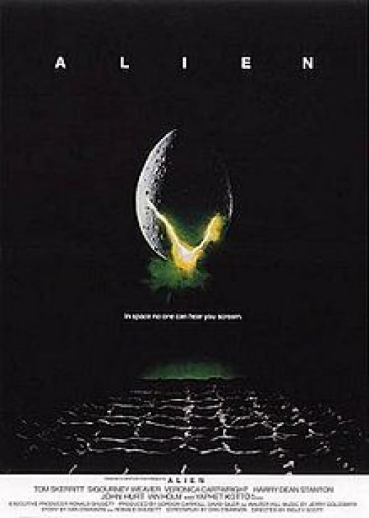 Alien (1979) film directed by Ridley Scott. Movie poster by Bill Gold. Distributed and released by 20th Century Fox.