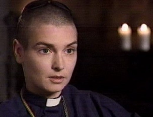 Sinead in priest outfit