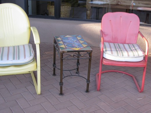 Red and yellow motel chairs 1950s $40 each, tile topped table $25