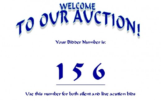 "Sample bidder card, where your organization's name would replace the generic ""our auction"""