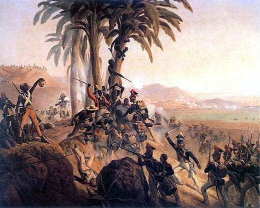 Battle on Santo Domingo., a painting by January Suchodolski depicting a struggle between Polish troops in French service and the Haitian rebels
