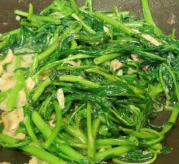 Ong Choy - Cooked Water Spinach with Wet Bean Curd