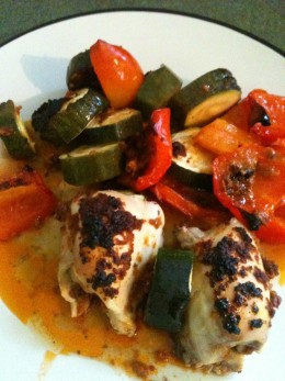 Baked Chicken Thighs With Vegetables. Photo © Redberry Sky.