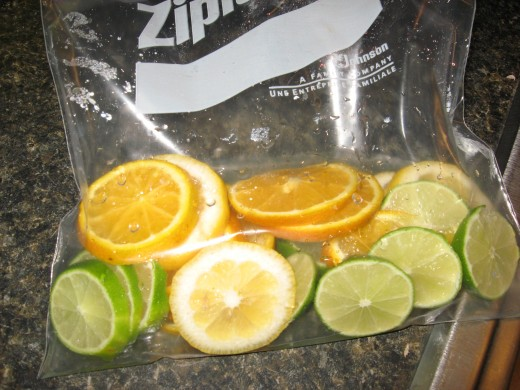 Soak citrus fruits overnight in rum and sugar.