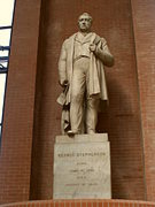 Statue of George Stephenson in the Great Hall at the NRM