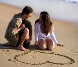 A romantic guy drew a heart in the sand for his girl.