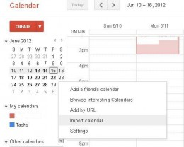 "Click the drop-down arrow to the right of Other Calendars and then click ""Import Calendar."""