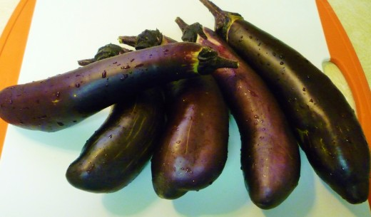 Chinese eggplants for this recipe from my garden.