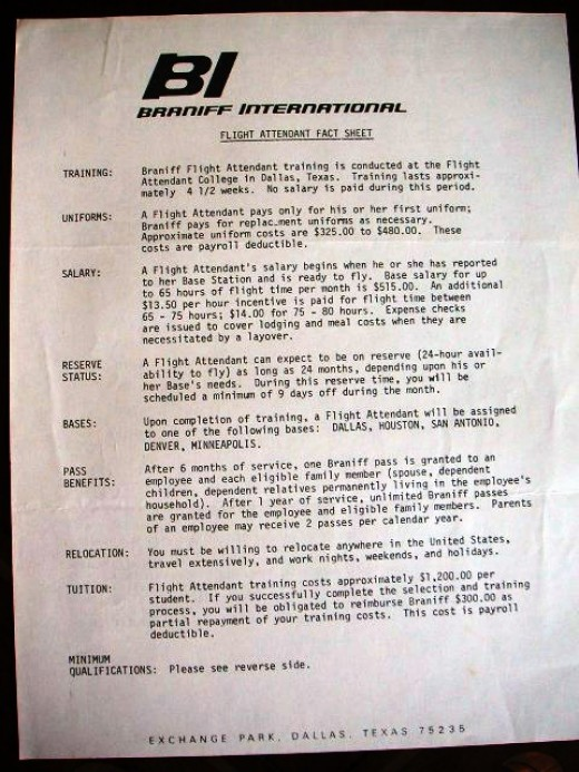 Flight Attendant Fact Sheet 1976