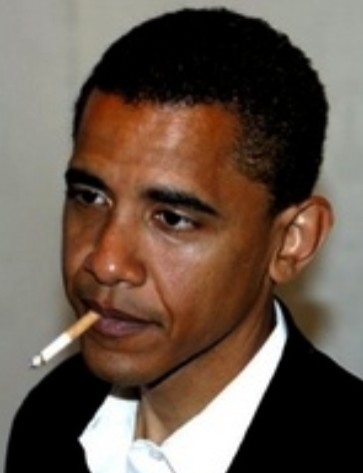 Barack Obama smoking cigarette