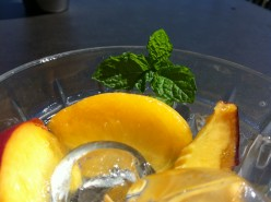 Peaches and mint garnish