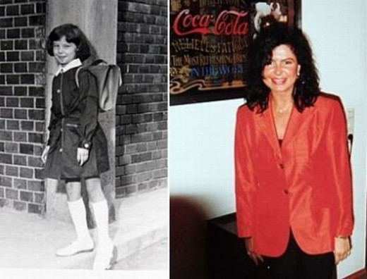 Maria Geronazzo as a little girl and an adult; before the plastic surgery procedures.