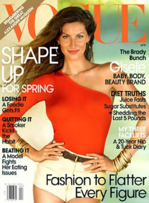 What Size to Be a Model for Magazines, Runways, and Catalog Work? Giselle Bundchen on the Cover of Vogue