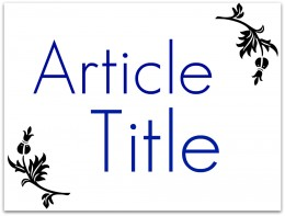 Article Title Photo
