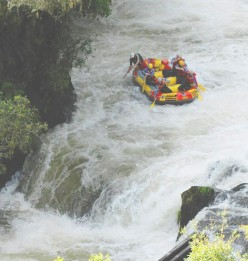 Plowing through rapids.