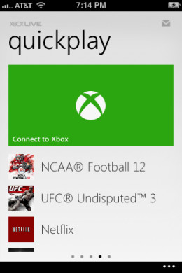 """Open the My Xbox LIVE app and then swipe to the left three times to navigate to the Quickplay section. Tap """"Connect to Xbox."""""""