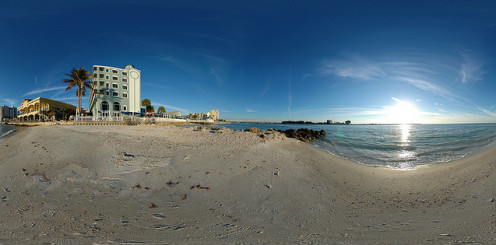 Unique panoramic view of the beach.
