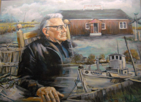 "Samuel Burrows, whose nickname was ""Sambo"" was a waterman and founder of Sambo's Tavern in Leipsic, Delaware. His tavern was NEVER associated with the Sambo's fast food chain restaurants. This photo is a portrait montage hanging in Sambo's Tavern."
