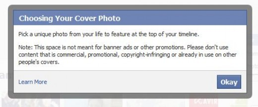 Warning while using cover photo
