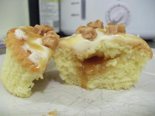 A photo of a cupcake I made myself at home.