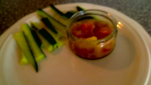 Mango salsa and cucumber dippers