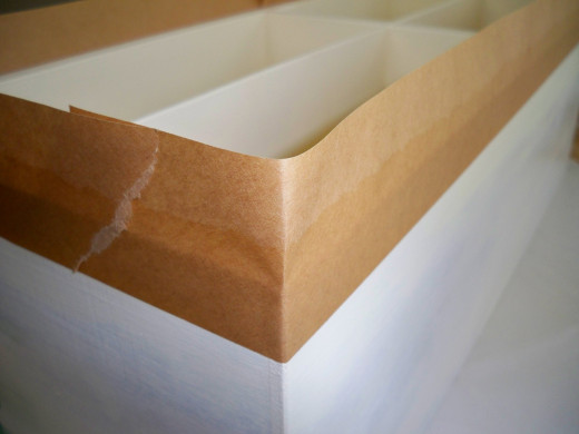 Measure from Top Edge to the Point the Creamy  Color is to Meet the Sage.  Pencil a Line and Put Tape in Place.