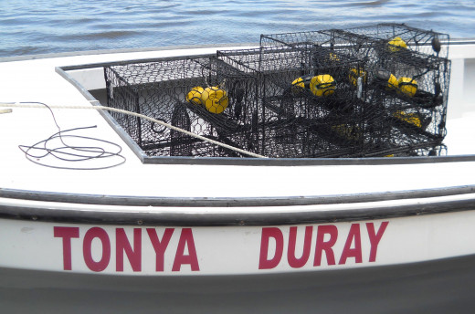 Close-up of Tonya Duray crab boat and crab traps.