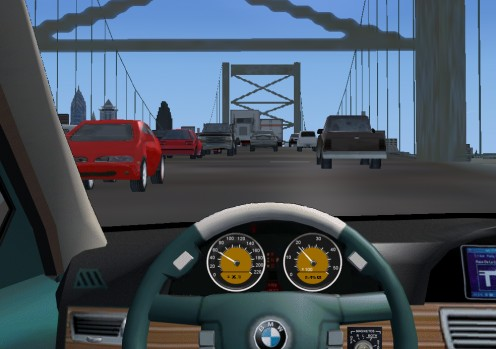 Driving over the Ben Franklin Bridge in Philadelphia