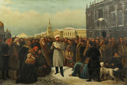 """""""Alexander II Proclaiming the Emancipation of the Serfs"""" by Gustav Dittenberger, c.1861"""
