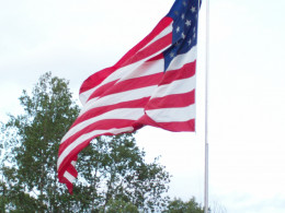 This flag flies over the lawn belonging to one of my patriotic cousins.