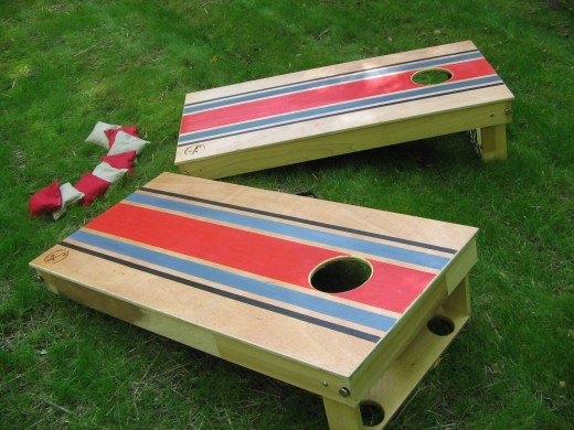 A corn hole set.