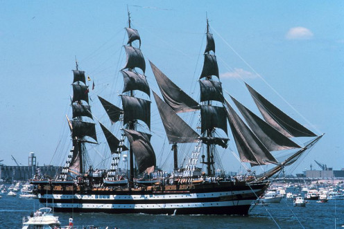 July 1976. Amerigo Vespucci at the ship parade in the NYC harbor at the United States Bicentennial festivities.