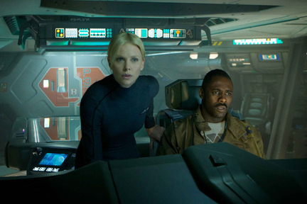 Charlize Theron and Idris Elba star in Prometheus, the Ridley Scott prequel to the science fiction thriller, Alien.