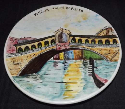 Vintage Collector Plate Dipinto A Mano Hand-Painted Venezia Ponte Di Rialto