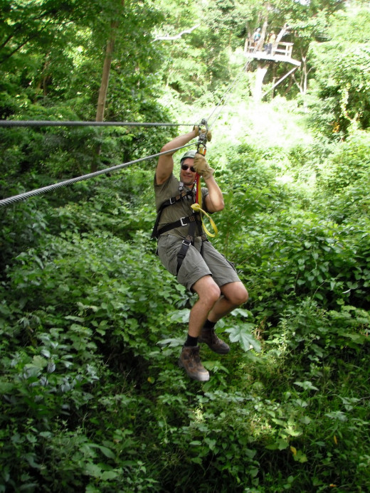 Trapezes  are suspended between platforms above the canopy of cultured citrus, mango, papaya, and banana trees, and above wild verdant jungle at Hotwire Rides Zip lining on Morne Coubaril Estates near Soufriere, St Lucia.