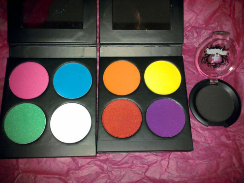 Left-Sweetheart palette top row-Dollipop,Afterparty bottom row- Midori, Tako Right-Burning Heart Palette-top row-Flamepoint, Buttercupcake bottom row-Love+, Poison Plum Individual- Bulletproof