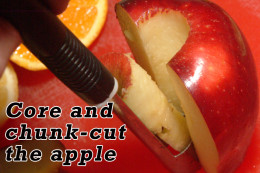 Core the apple and cut it into chunks