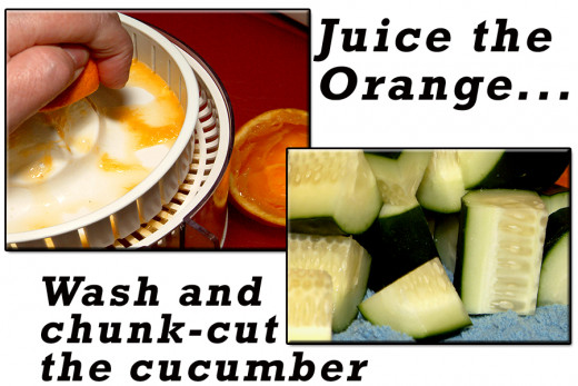 Squeeze or juice the oranges, and cut the cucumber into chunks.