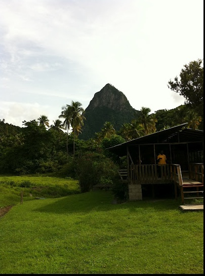 From the ground and from the zip lines, the volcanic peak of Petit Piton gives a backdrop to the Morne Coubaril Estate.