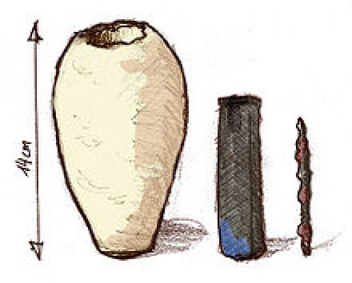 Drawing of the components of the Baghdad Battery.