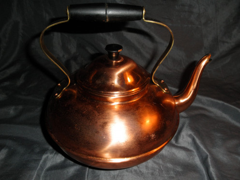 Vintage Copral copper tea kettle with a wooden handle made in Portugal
