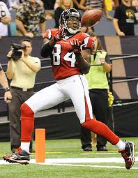 Roddy White about to score a touchdown