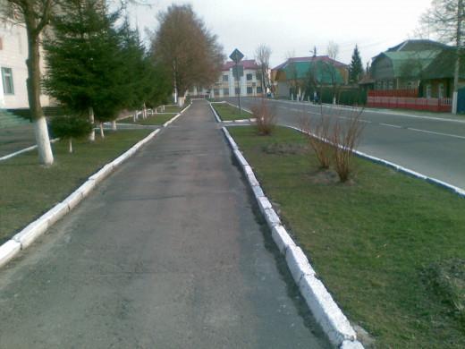 a street in a provincial town Chechersk, Gomel region.