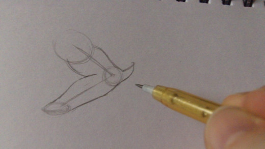 Drawing the fore arm and the elbow.