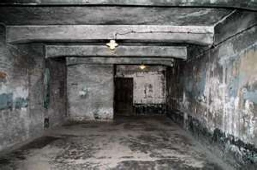 On top is the place were gas was pumped into this Nazi Gas Chamber.