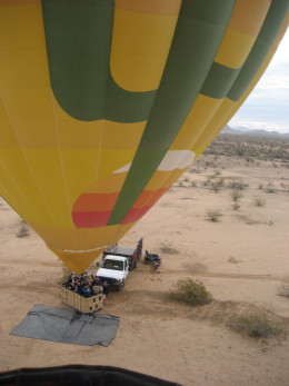 Balloonists seek safety in numbers - watching the launch of a second balloon from the first.