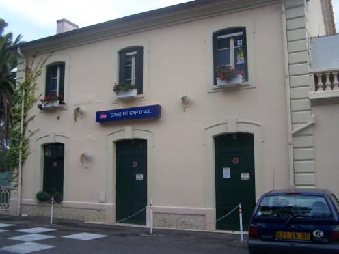 Building of Cap-d'Ail railway station, near Monaco in Alpes-Maritimes, France.