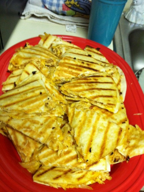 Cheesy chicken quesadillas.  YUM!