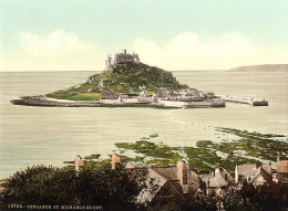 Penzance in Cornwall with St. Michael's Mount in the distance