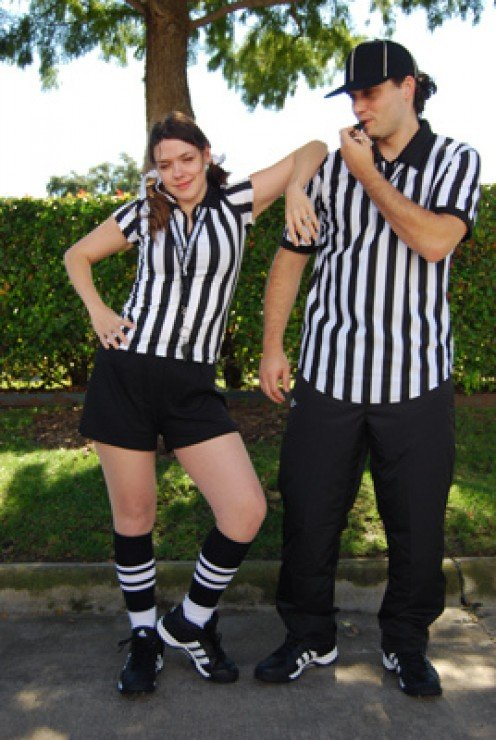 Here's our sports fan couple again dressed as referees. Aren't they the cutest things?